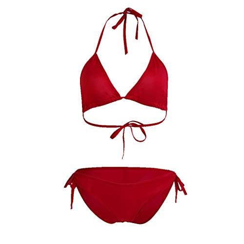KPILP Womens Bikini Swimsuit Two Piece Swimwear Beachwear Push up Plus Size Bathing Suit Swimming Costume Ladies Tankini Swimwear Fashion Swim Trunks Shorts(Red,S)