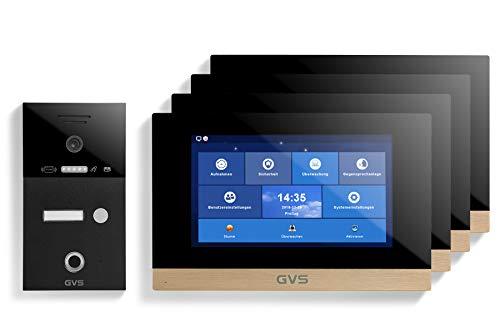 GVS AVS5278A - Videoportero de 4 cables/IP, IP65, RFID, Fingerprint, 4 monitores de 10 pulgadas, App, cámara HD de 120 °, apertura de puerta, 32 GB de memoria, conmutador PoE, 1 juego familiar