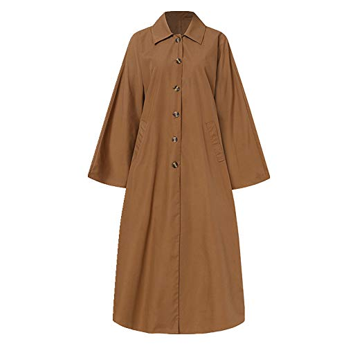 N\P Abrigo de mujer primavera manga larga chaqueta larga abrigos mujer marrón L