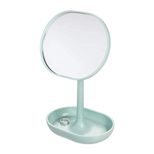Price comparison product image iDesign Makeup Mirror,  Small and Round Dressing Table Mirror Made of Plastic,  Adjustable Bathroom Mirror with Tray for Makeup and Jewellery,  Light Blue