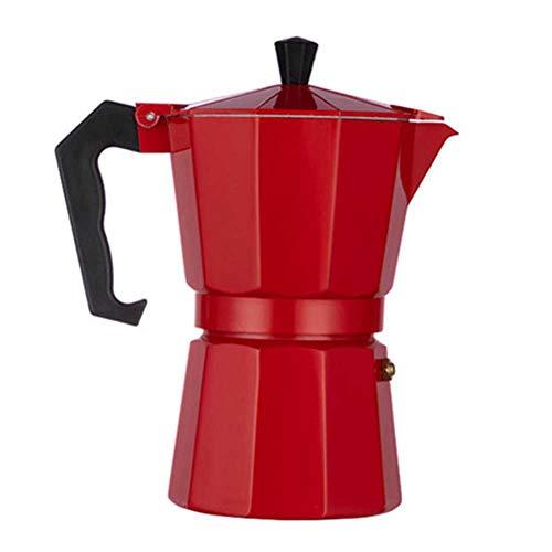 ZLASS Máquina de café Espresso de Aluminio, máquina de café Espresso Italiana para Estufa de cerámica a Gas o eléctrica, Utilizada para Latte casera o cafetera Cubana, Rojo, 450 ml / 15 oz, 9 Tazas