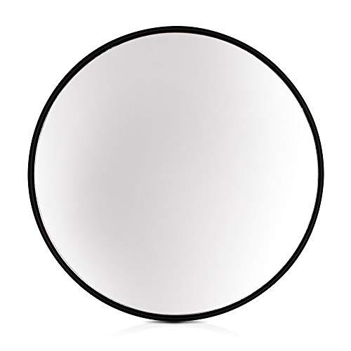 Elegance by Casa Chic – Gran Espejo de Pared Metálico – 58.5 cm de diámetro – Metal Galvanizado – Negro