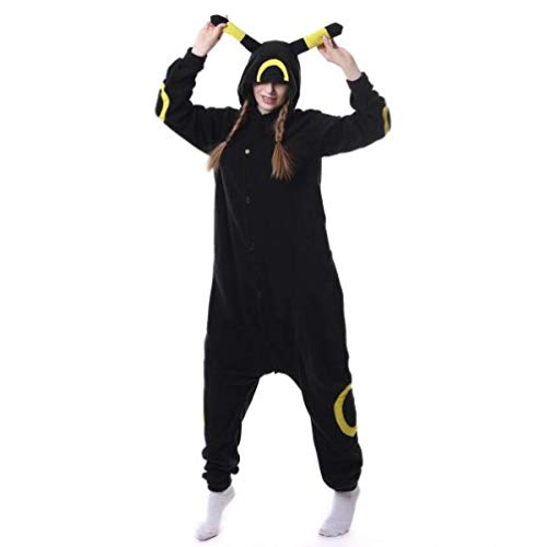 WFE&QFN Pijamas navideñosAnimal Adultos Gato Oso Tiburón Onesies Pijama Mapache Disfraces de Zorro Mono de Dragón, Umbreon Amarillo, L