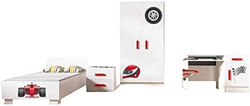 mb-moebel Moderne Wohnw  Kinderzimmerschrank Kinderzimmer M l komplettprogramme Alice I Set 3 (Rot 3)