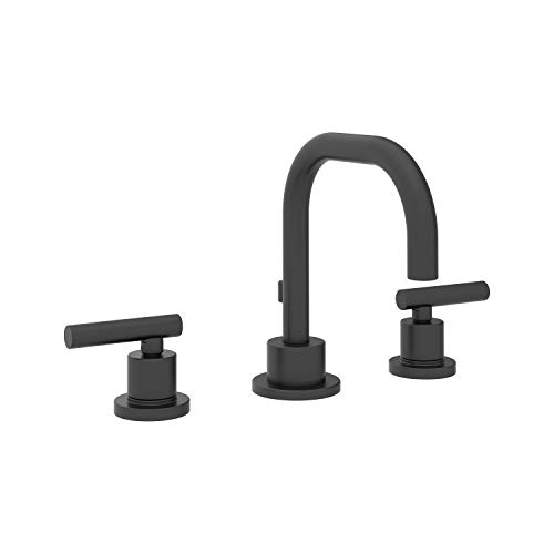 Symmons SLW-3512-MB-1.0 Dia Widespread 2-Handle Bathroom Faucet with Drain Assembly in Matte Black (1.0 GPM)
