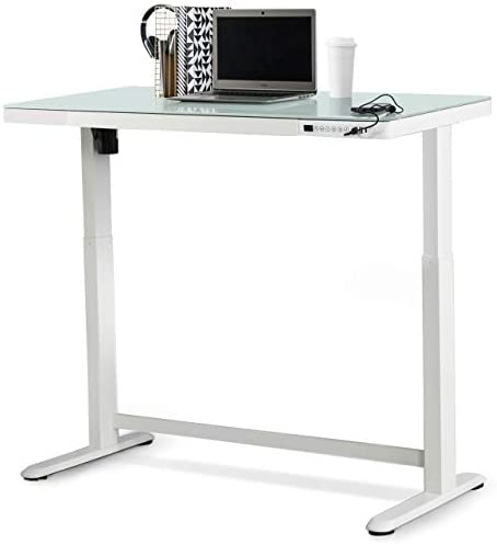 Jefferson Electric Lift Stand Up Desk Workstation with Glass Desktop 47 37 x 23 75 Height Adjustable product image