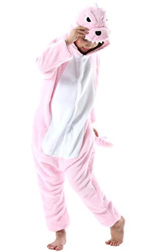 Enfant Fille Garçon Anime Animal Halloween Costume Cosplay Combinaison Pyjama Outfit Nuit Vêtements Onesie Soirée de Déguisement Unisexe Rose Dinosaure pour Hauteur 90-148CM