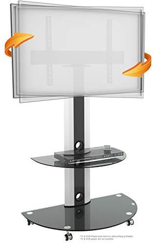 RICOO FS0502, TV Ständer, Rollbar, Schwenkbar, Universal 30-65 Zoll (76-165cm), Stand-Fuß, TV-Halterung mit Rollen, VESA 300x200-600x400, Weiß-Schwarz