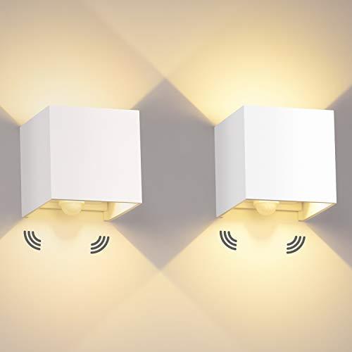 LEDMO 2 Pcs 12W Aplique pared LED con Sensor de Movimiento para Exterior/Interior Blanco Cálido 3000K 1000lm Lampara de pared Impermeable IP65 Ángulo ajustable Lámpara Pared Blanco