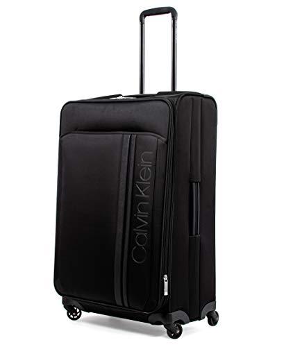 Calvin Klein Path Softside Spinner Luggage with TSA Lock, Black, 28 Inch