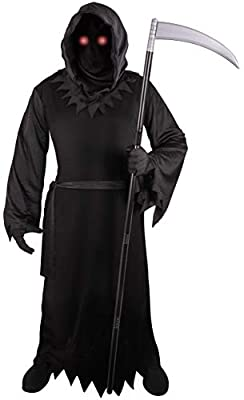 Grim Reaper Costume for Kids with Light Up Red Eyes by Kangaroo