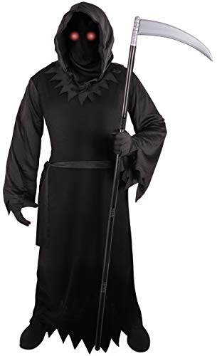 Grim Reaper Costume for Kids with Light Up Red Eyes (Medium (8-10)