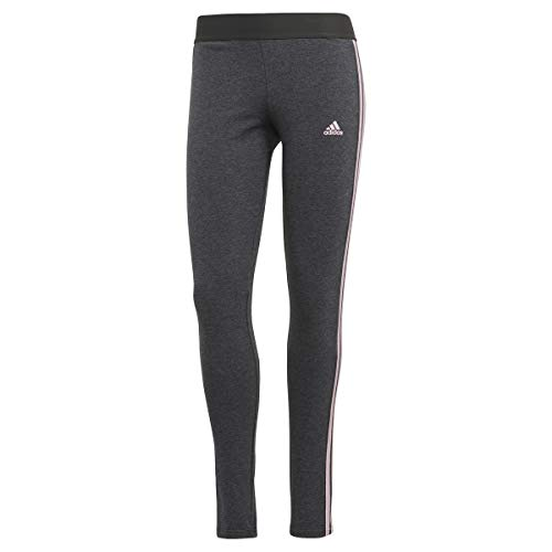 adidas 3-Stripes Leggings, Oscuro Gris Melange/Color Rosa Claro, XL para Mujer