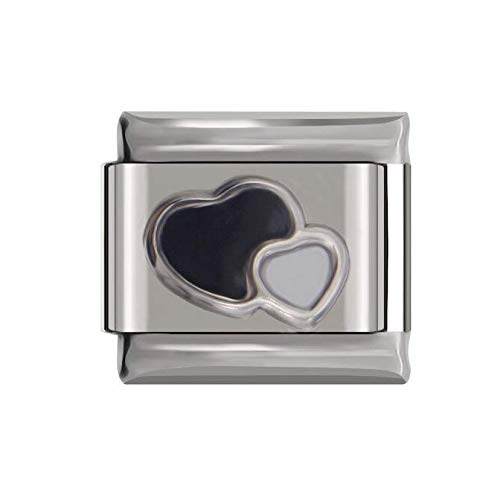 Birthstone Colour Double Heart Black and White Charm | 9mm Italian Charms Link | UK Stock