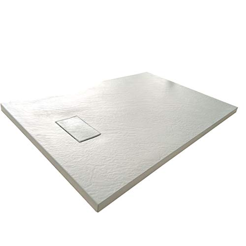 Plato de ducha efecto piedra con valvula incluida H. 2.6 cm - 80 x 100 Blanco