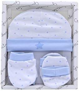 Set manoplas patucos y gorrito recién nacido color azul, primera puesta bebe 100% algodón