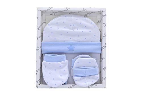 Primera puesta manoplas patucos y gorrito recién nacido color azul, caja regalo bebe 100% algodón