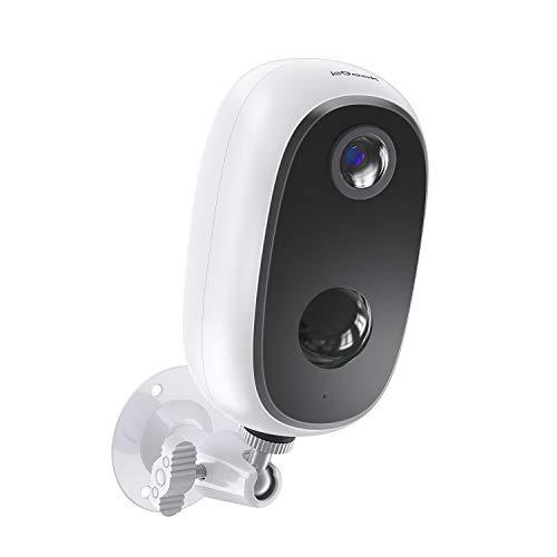 ieGeek Camara de Vigilancia WiFi Exterior sin Cables, Batería Recargable de 10000 mAh, Cámara IP de Seguridad Wi-Fi 1080P con Impermeable, Detección de Movimiento PIR, Visión Nocturna, Audio de 2 Vias