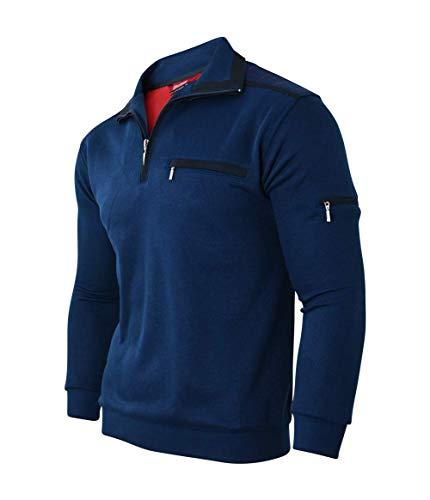 Soltice Herren Langarm Sweatshirt mit Reißverschluss-Kragen, Poloshirt, Polohemd, Blousonshirts Baumwoll-Mix (M, [B] Navy-Kariert)