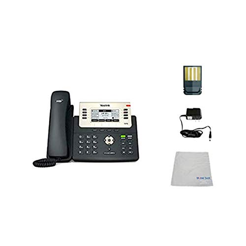 Global Teck Bundle of Yealink T27G SIP POE Office Phone Bundle with Power Supply and Microfiber Cloth   Requires VoIP Service - Vonage, Ring Central, 8x8, Mitel or Cloud Services
