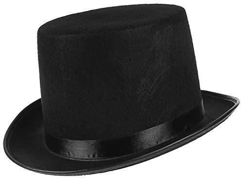 Jelord - Sombrero de Copa de Fieltro Sombrero de Disfraz Chistera Chapeau con Cinta Satn Negro Rojo Sombreros Mago para Adultos Carnaval Halloween Fiestas