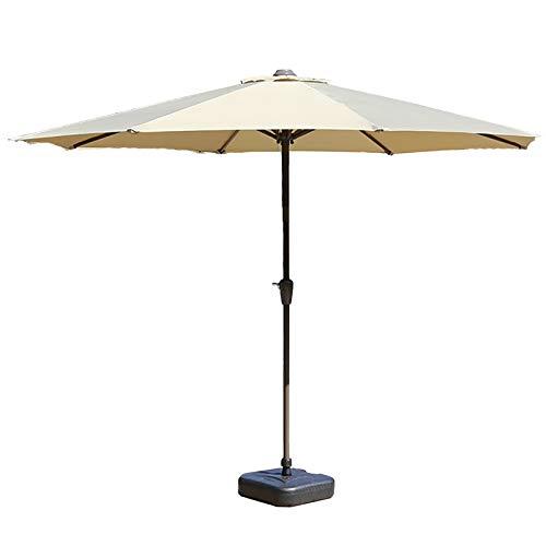 HYDT Sombrilla de Patio Sombrilla de Patio con Base, Dosel de 9 Pies Sombrilla de Mercado para Mesa de Jardín, Playa Sunbrella de 8 Varillas con Protección UV (Color : Khaki)