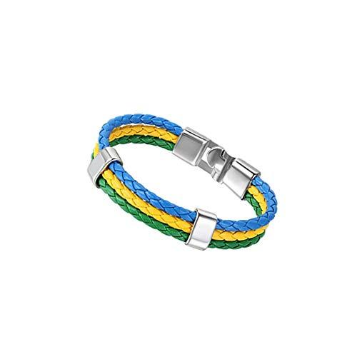 JewelryWe FIFA World Cup Mens Womens Lederen Armband Gevlochten Voetbal Fans Polsband, Braziliaanse Brazilië Vlag Manchet Bangle, Groen Geel Blauw, 8,3 Inch