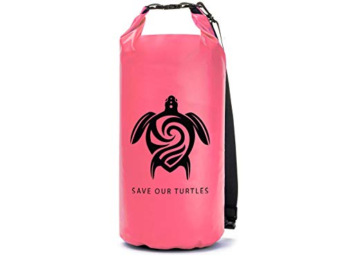 GILI Waterproof Dry Bag, Roll Top Compression Sack Keeps Gear for Paddle Boarding, Kayaking, Beach, Boating and Hiking (Pink, 15L)