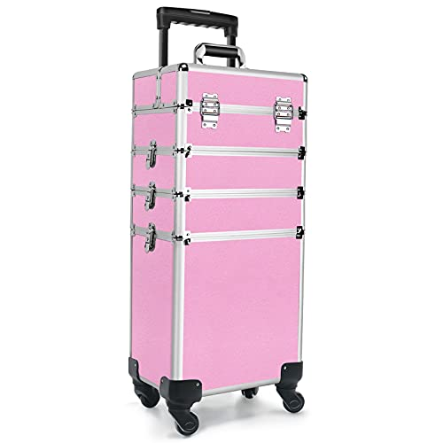 Cosmetic Rolling Makeup Train Case 4 in 1, Make Up Box Travelling Professional, Cosmetology Case on Wheels Pink Black Silver for Cosmetic, Hairstylist, Nail Technician, Tattoo(Pink)