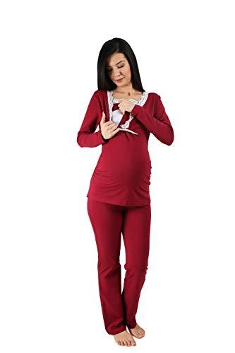 Still-Pyjama Set mit Spitze für Damen - Umstandspyjama Schlafanzug Nachtwäsche für Schwangerschaft und Stillzeit mit Stillfunktion, Langarm (Weinrot, Medium)