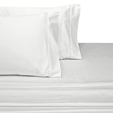 100-Percent Plush Cotton 800 TC Sheet Set by Pure Linens, Lavish Sateen Solid, 4 Piece Queen Size Deep Pocket Sheet Set, White