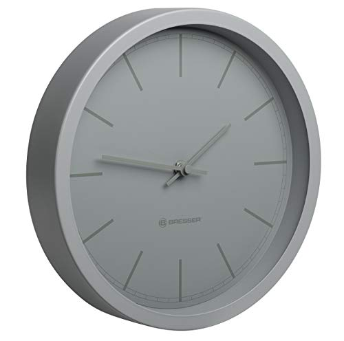 Bresser MyTime DCF-77 Funk Wanduhr mit Edelstahlrahmen und geräuschlosem (ohne Tick-Tack) Uhrwerk, grau