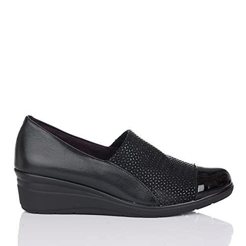 PITILLOS 1022 Zapato Mocasin Combi CUÑA Mujer Negro 38