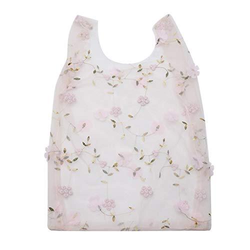 FiedFikt Handtasche für Mädchen, Blumenstickerei, Organza, leger, Netzstoff, Einkaufstasche, Frauen-Handtaschen, Lebensmitteleinkaufs-Aufbewahrungstasche (B)