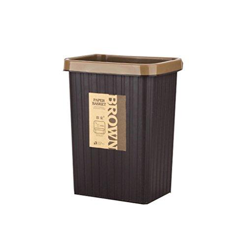 Lovely Moderne Küche Mülleimer Wohnzimmer Büro Kunststoff Abfalleimer Pack von 2 (Color : Brown, Size : 10L+16L)
