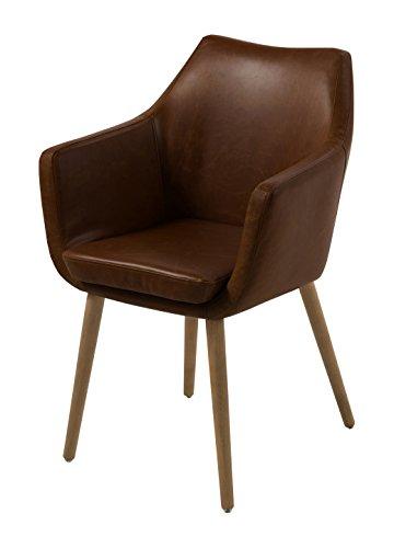 AC Design Furniture Lore - Silla con brazos (revestimiento de piel artificial, patas de roble), Marrón Oscuro