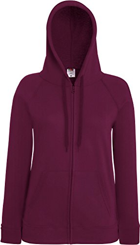 Fruit of the Loom Lady-Fit Lightweight Hooded Sweat Jacket 62-150-0 XL,Burgundy