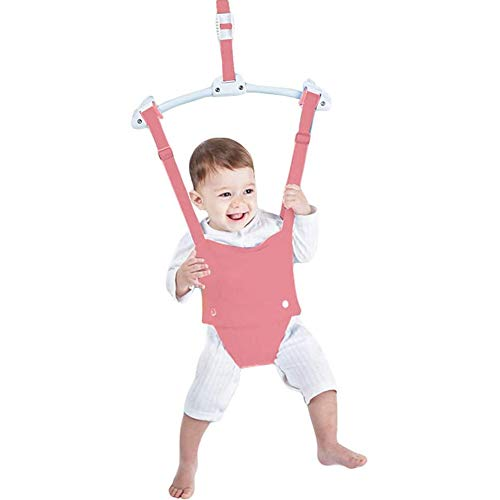 N/Q Baby Door Jumper, Baby Exerciser with Door Clamp, Bounce Spring, Length Adjustable Baby Hanging Swing Jump Bouncer for Infant Toddler 6-24 Months,Pink