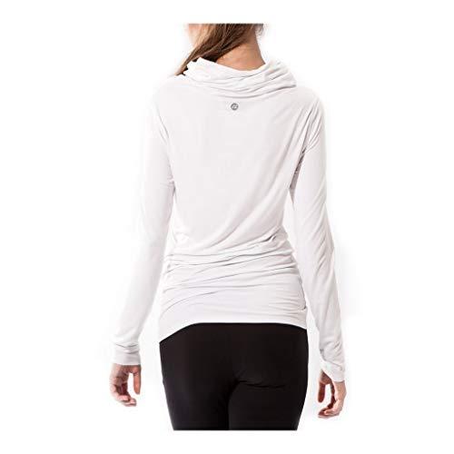 Sternitz Camisa Fitness para Mujer, Bhakti Hoodie, Ideal para Hacer Pilates, Yoga y Cualquier Deporte, Tela de bambú, ecológica y Suave. Cuello Largo. (L, Blanco)