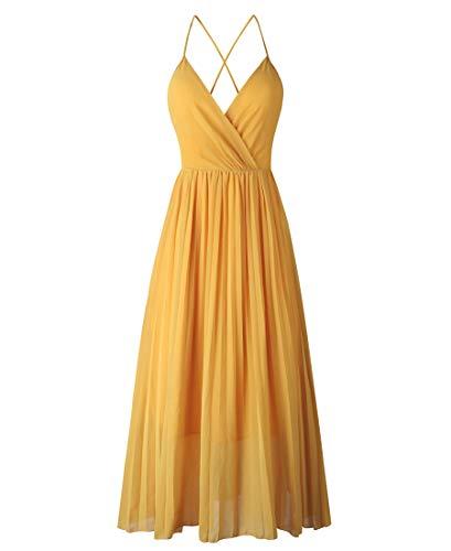 Avondii Damen Ärmellos Chiffon Kleid Elegant V-Ausschnitt Partykleid Schulterfrei Sommerkleid (XL, Gelb)