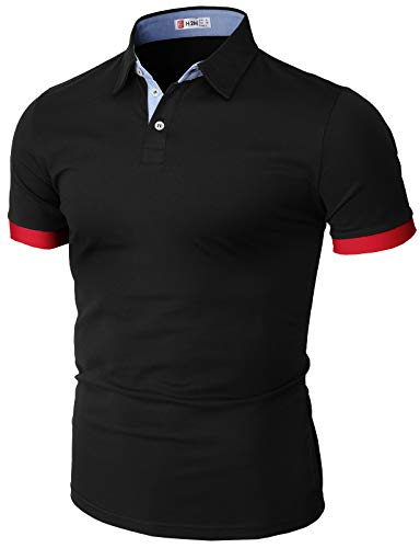 H2H Mens Casual Slim Fit Polo T-Shirts Basic Designed with Pointed Patch Black US M/Asia L (CMTTS247)