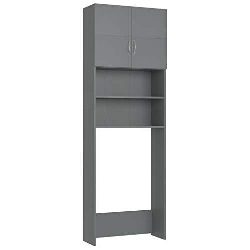 vidaXL Waschmaschinenschrank mit 2 Türen 2 offenen Fächern Badmöbel Badschrank Hochschrank Badhochschrank Schrank Grau 64x25,5x190cm Spanplatte