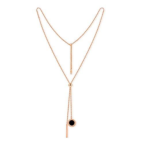 Collar para mujer con colgante de barra simple de oro rosa, para regalo de Navidad, longitud: 57 cm + 5 cm