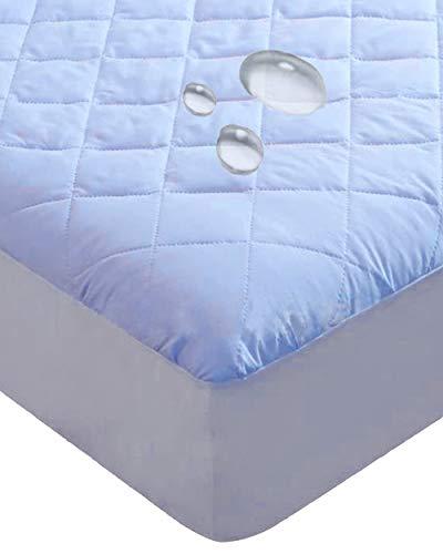 4層構造 防水 ボックスシーツ 100x200cm 防水シーツ シングル 吸水タイプ 逆戻り防止 ズレ防止 (ブルー)