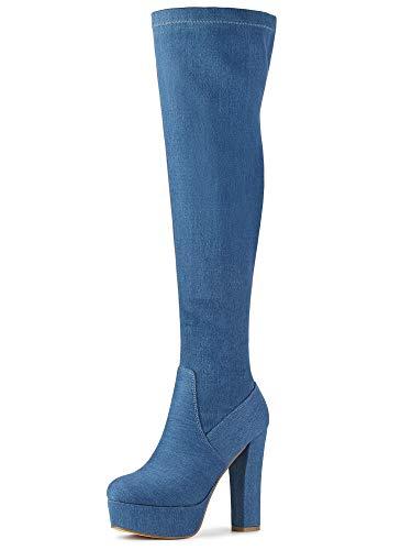 Allegra K Botas De Tacón Alto De Bloque sobre La Rodilla con Plataforma para Mujer Azul Vaquero 36