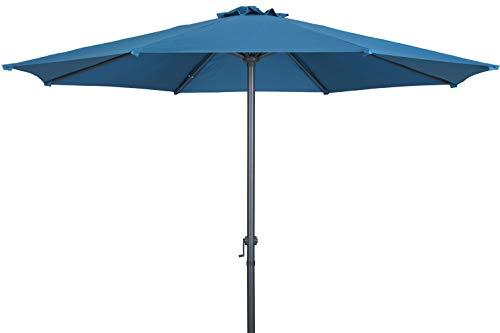 TrendLine Sonnenschirm Sofia Petrol Ø 300 cm Blau Kurbelschirm Gartenschirm