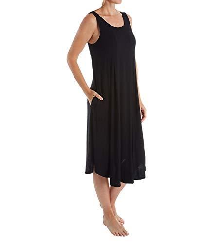 "Donna Karan Modal Spandex Jersey 44"" Gown Black LG"