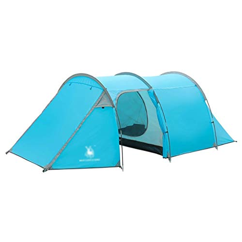 3-4 Person Tunnel Tent With Instant Setup Double Layer Camping Tent Waterproof Windproof Cabin Tent for Camping Hiking Mountaineering (Color : Blue)