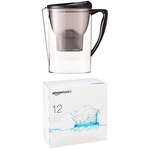 Amazon Basics Water Filter 2.3 litres (Negro) & Water Filter Cartridge (12 Unidades)