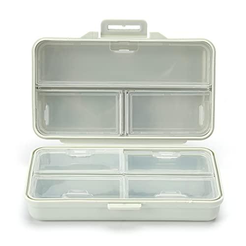 Caja de bordado de diamante, caja de compartimiento de medicina de rejilla transparente, soporte de almacenamiento de escritorio para joyas, aretes, contenedores de uñas de belleza